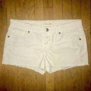 Forever 21 Denim Frayed Hem White Shorts